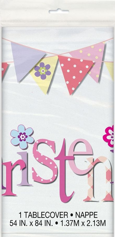 Pink Christening  Plastic Tablecover